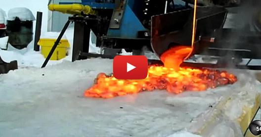 Ето какво се случва, когато се излее лава върху лед (ВИДЕО)