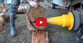 Модерно цепене на дърва с устройство, което се монтира вместо колелото на колата! ГЕНИАЛНО! (ВИДЕО)